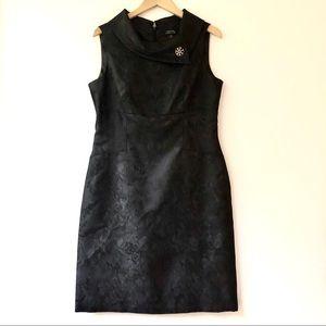 Tahari ASL Black Floral Jacquard Dress w/Broach 10